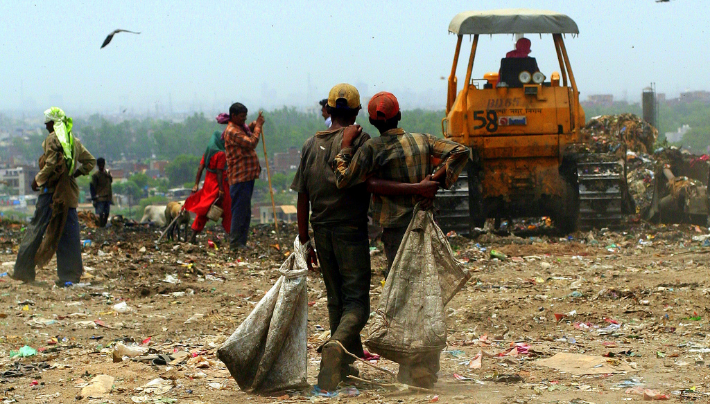 Young waste pickers at Ghazipur