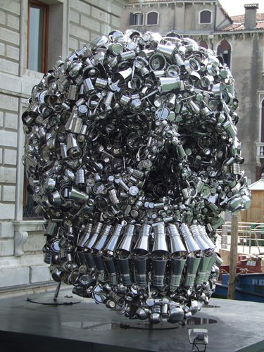 Giant Skull Made Of Pots And Pans Recyclenation