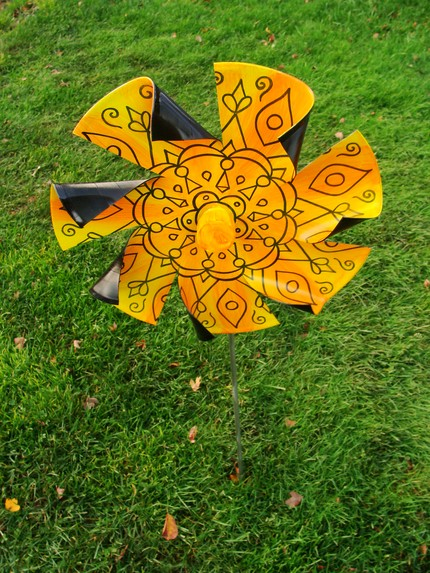 Sunshine Yellow Mandala Pinwheel