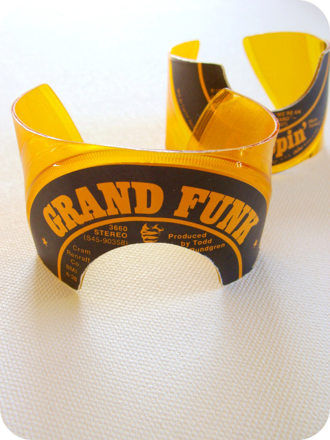 Men's Yellow Vinyl Roman Record Cuffs