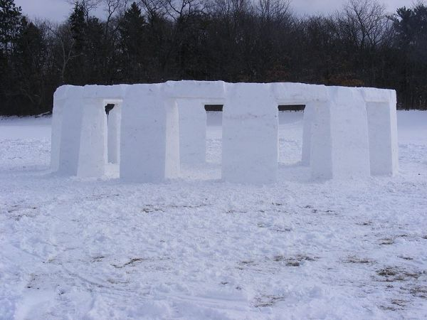 7 Snowhenge Seven Stonehenges Made from Recycled Materials