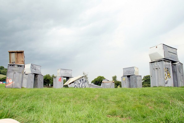 banksy Seven Stonehenges Made from Recycled Materials