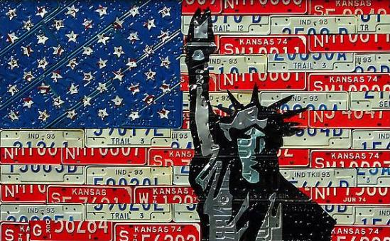 liberty flag American Icons Created Out of Recycled License Plates