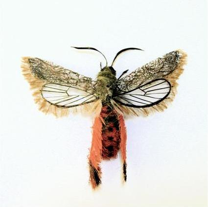 furry butterfly Insects Created from Recycled Human Hair