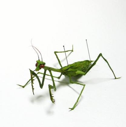 green mantis1 Insects Created from Recycled Human Hair