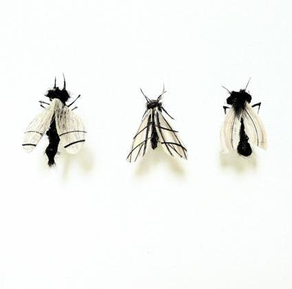 three flies Insects Created from Recycled Human Hair