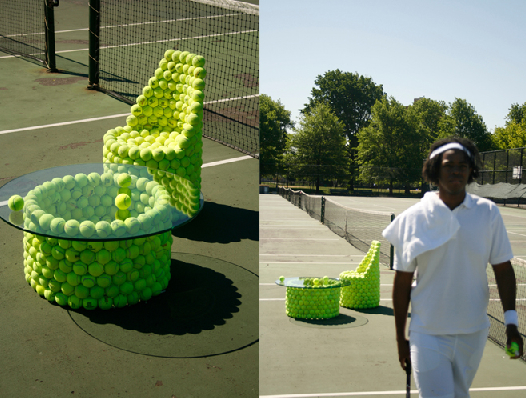 Ten amazing tennis ball furniture designs recyclenation for 1 gross table tennis balls