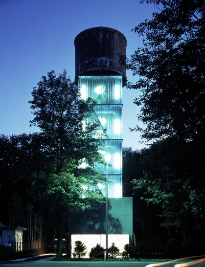 full night SE Seven Water Towers Transformed into Houses