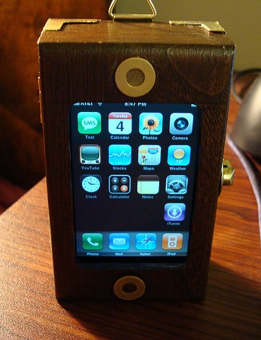 4 iPhone standing Ten Incredible Steampunk Cell Phones
