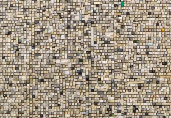 Giant walls made from thousands of old keyboard keys for Recycled wall