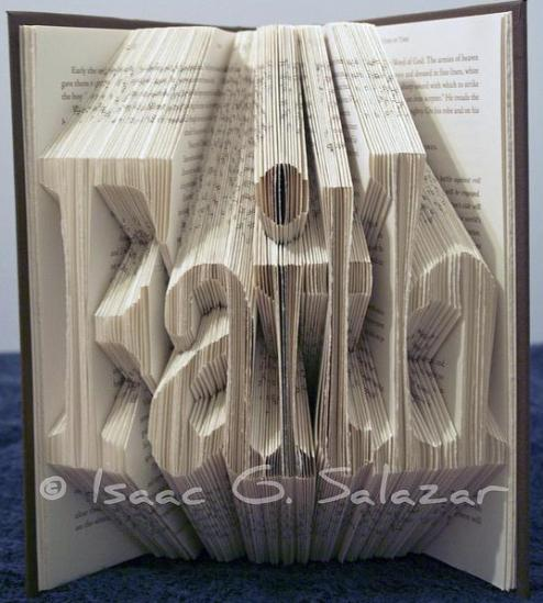 2 faith1 Books Transformed into 3 D Origami Symbols