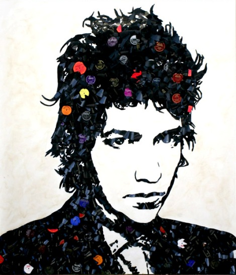 Bob Dylan Music Icons Created from Shards of Broken Vinyl