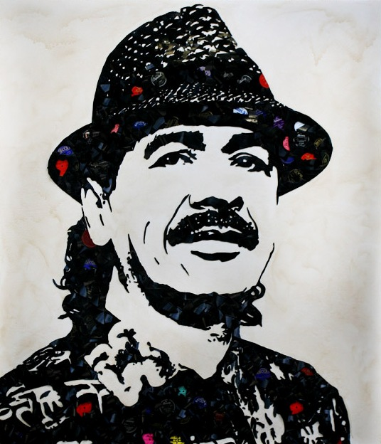 CarlosSantana Music Icons Created from Shards of Broken Vinyl