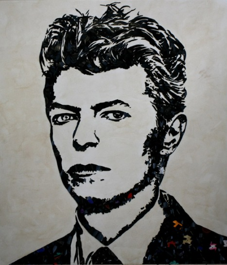 DavidBowie Music Icons Created from Shards of Broken Vinyl