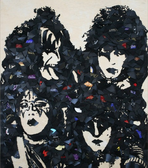 Kiss 44x48 Music Icons Created from Shards of Broken Vinyl