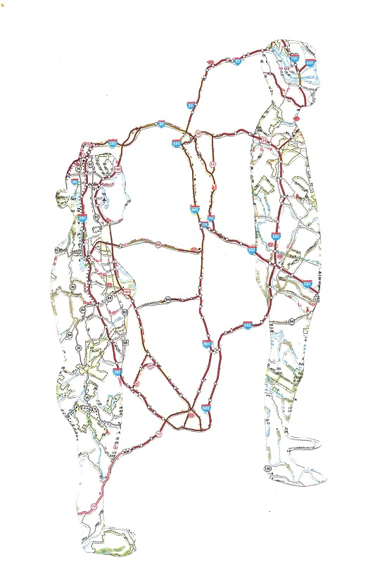 NR7 Dissected Street Maps Transformed into Human Bodies