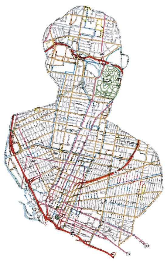 NR8 Dissected Street Maps Transformed into Human Bodies