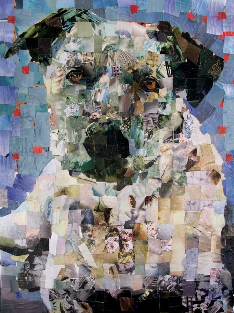 Pictures Of Pooches Created From Hand Cut Magazines