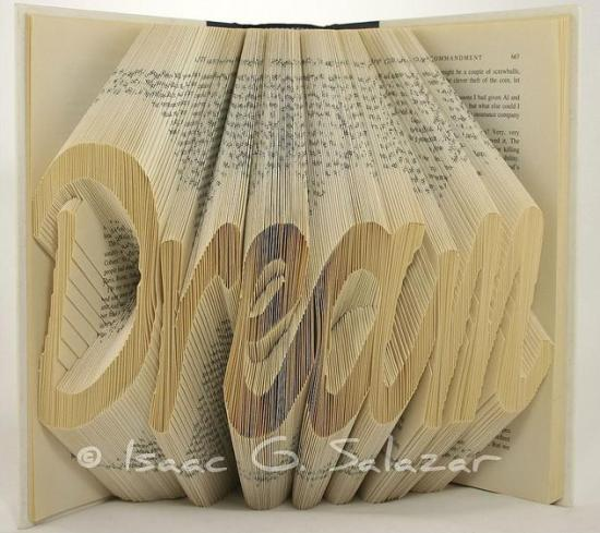 dream Books Transformed into 3 D Origami Symbols