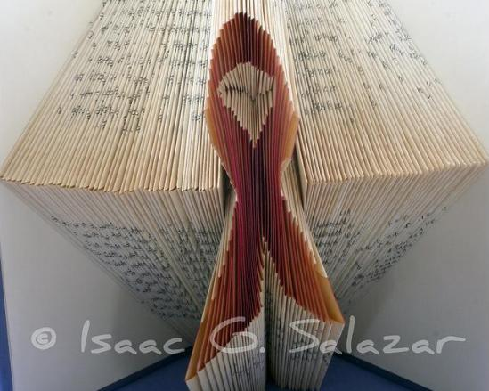 pink ribbon Books Transformed into 3 D Origami Symbols
