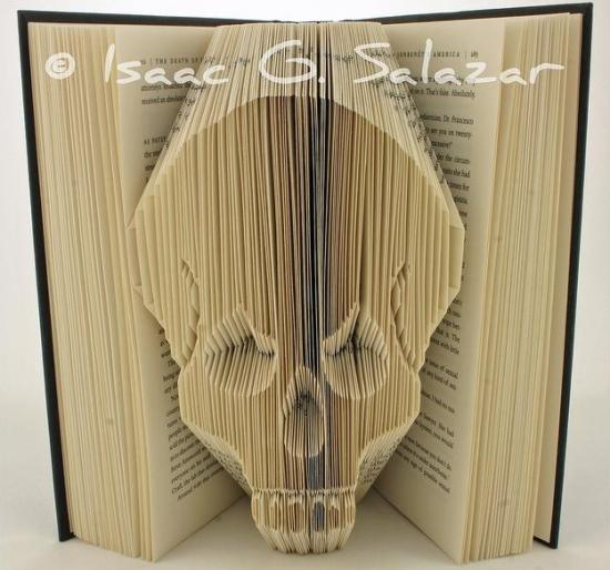 skull Books Transformed into 3 D Origami Symbols