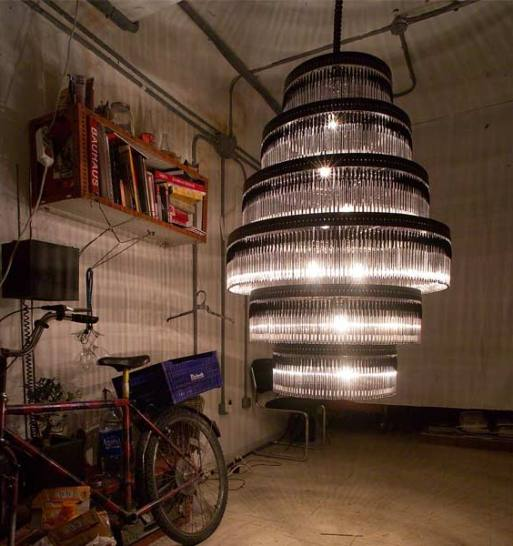 How to make 10 incredible chandeliers created out of everyday junk madrid based design studio enpienza created its six tier volivik chandelier out of 895 bic pens and paperclips the light and patterns it creates is just aloadofball Gallery