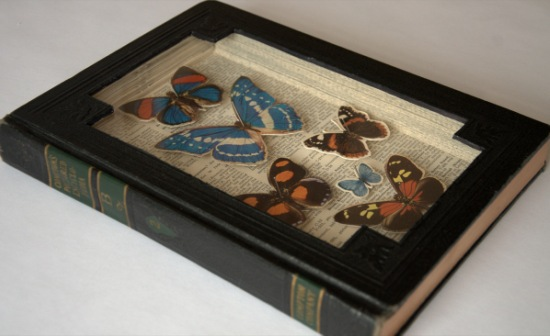 comptons pictured butterflies Old Books Dissected to Create Intricate 3 D Carvings