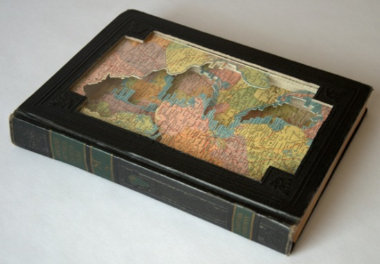 maps Old Books Dissected to Create Intricate 3 D Carvings