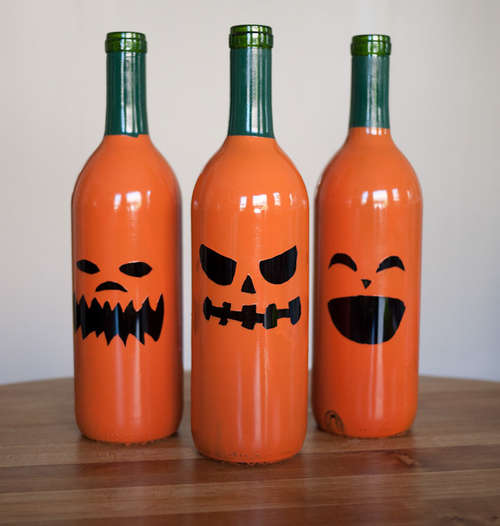 Halloween recycled wine bottle