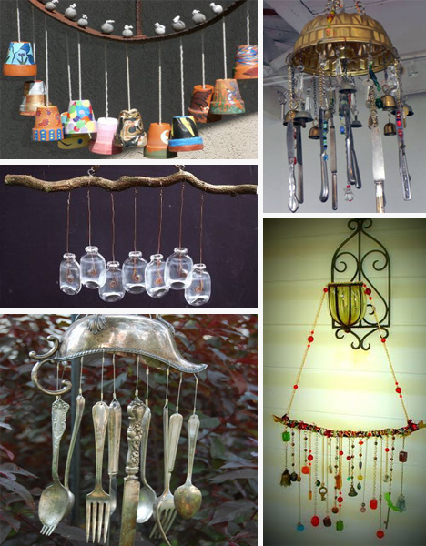 40 eco wind chimes for an enchanted unique garden for Homemade items from waste materials