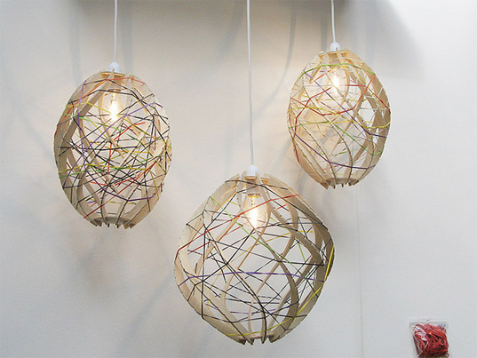 recycled rubber band lamp