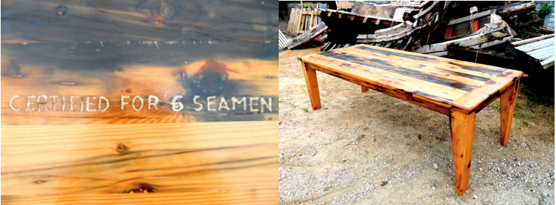 Shipwreck Furniture recycled table