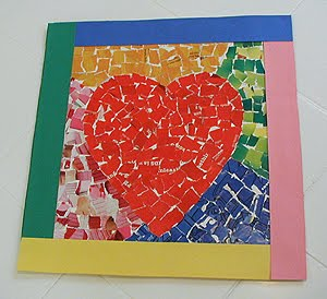 recycled heart mosaic