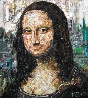 Mona Lisa recycled art by Jane Elizabeth Perkins