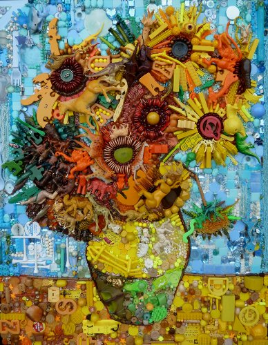 "Van Gogh ""Sunflower"" recycled art - Jane Elizabeth Perkins"
