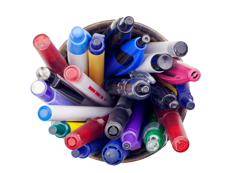 recycling pens, markers, pencils and highlighters