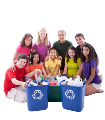 Grade School Children Recycle