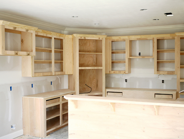 What are kitchen cabinets made of?